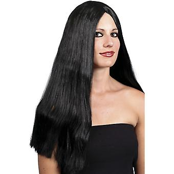 Long Black Straight Witch Wig 65cm  Halloween Fancy Dress Accessory