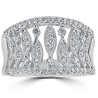 3 / 4ct Vintage Diamond Multi rij knokkel rechterhand Ring 18K witgoud Sz 6.5