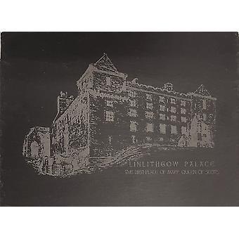 Graham Wishart láser grabados oblongo pizarra grande con soporte de Linlithgow Palace del norte ver