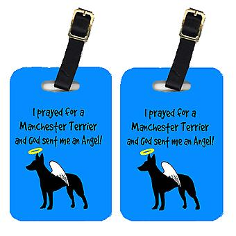Carolines Treasures  AN1045BT Pair of 2 Manchester Terrier Luggage Tags