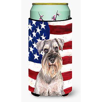 USA American Flag with Schnauzer Tall Boy Beverage Insulator Hugger