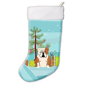 Merry Christmas Tree anglais Bulldog fauve blanc bas de Noël