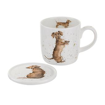 Royal Worcester Wrendale Hello Sausage Dog Mug and Coaster Set