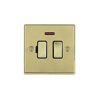 Hamilton Litestat Hartland Polished Brass 13A DP Fused Spur + Neon PB/BL