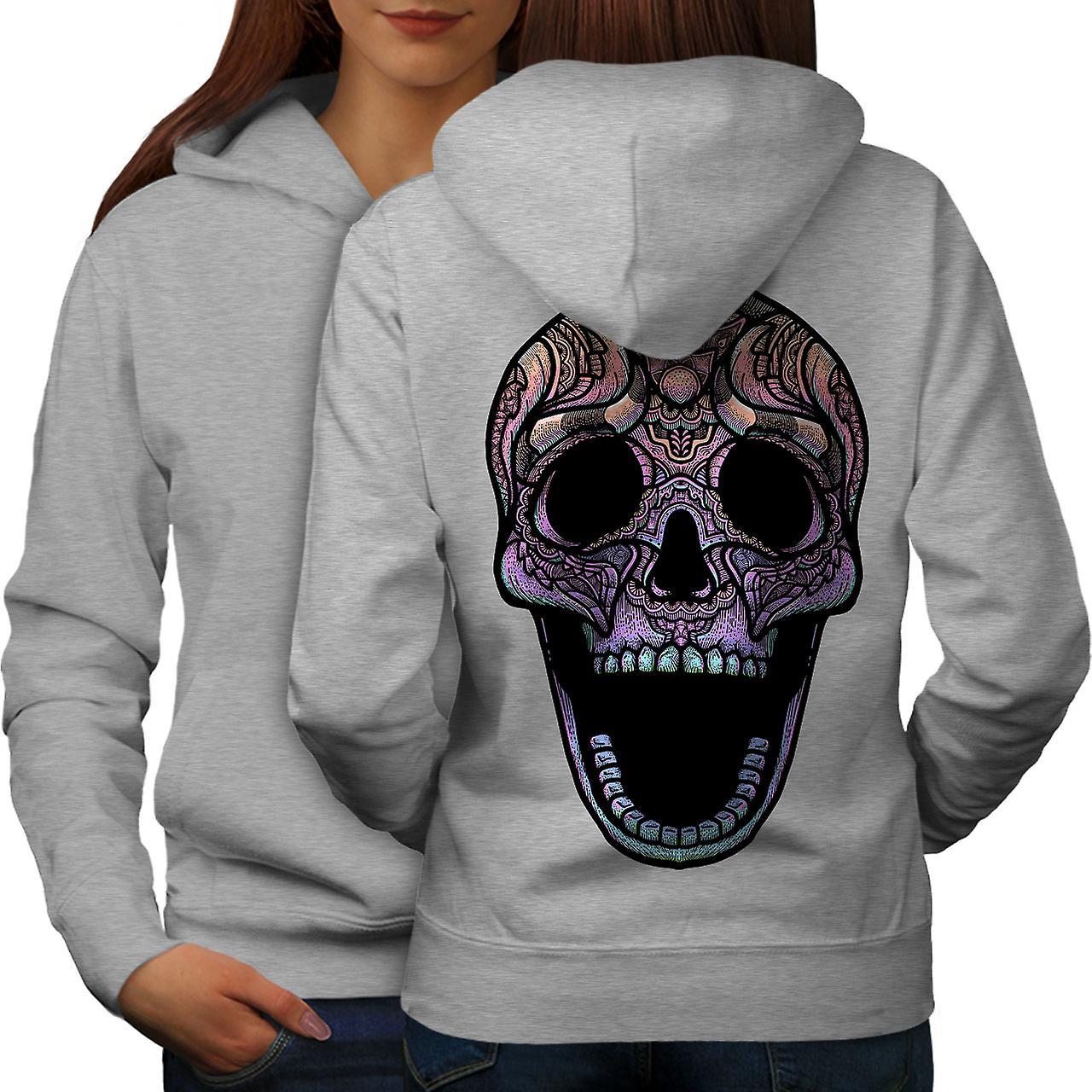 Color Skull Women GreyHoodie Back | Wellcoda