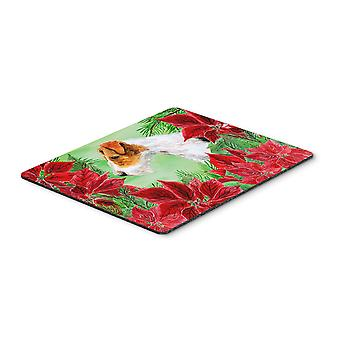Fox Terrier Poinsettas Mouse Pad, Hot Pad or Trivet