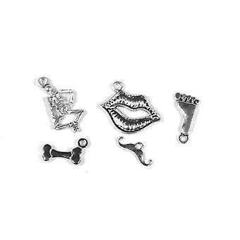 Packet 5 x Antique Silver Tibetan 17-40mm Body Charm/Pendant Set ZX16920