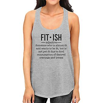 Fit-ish Womens Grey Cute Saying Tank Top Gag Workout Gift For Her