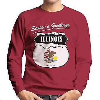 Seasons Greetings Illinois State Flag Christmas Men's Sweatshirt