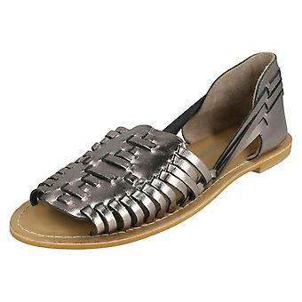 Ladies Leather Collection Flat Weave Sandals F00145 - Pewter Leather - UK Size 5 - EU Size 38 - US Size 7