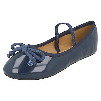 Girls Spot On Elastic Bar Ballerinas H2429 - Navy Synthetic Patent - UK Size 7 Infant - EU Size 24 - US Size 8