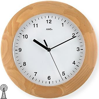 Radio controlled wall clock wall clock solid wood case radio beech domed mineral glass