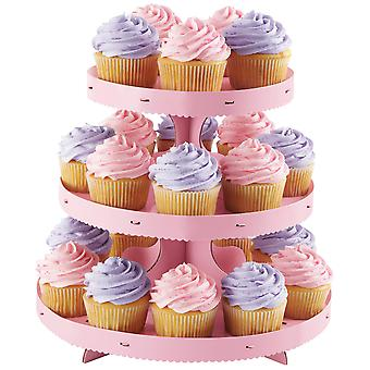 Corrugated Cupcake Stand 3 Tiers-Pink