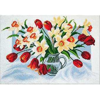 Collection D'art Stamped Cross Stitch Kit 37X49cm-Spring Flowers