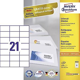 Whi de papel Avery Zweckform 3652 etiquetas 70 x 42,3 mm