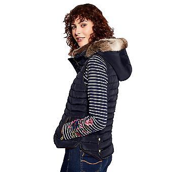 Joules Womens Melbury Faux Fur Hood Trim Zip Padded Gilet