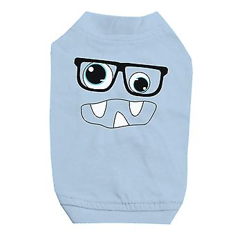 Monster With Glasses Sky Blue Pet Shirt for Small Dogs