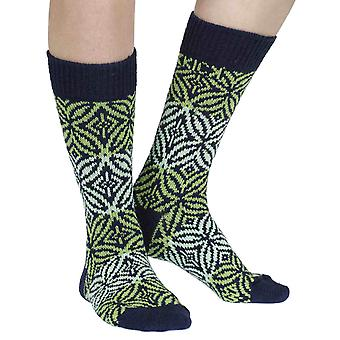 Rosemont recycled cotton patterned crew socks in jade | By Sidekick