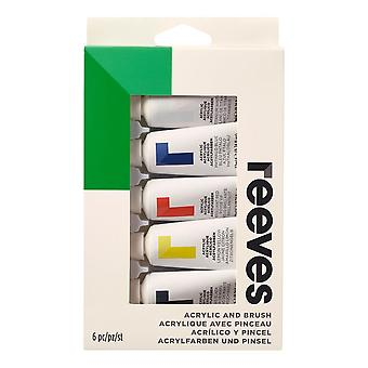 Reeves Acrylic Paint & Brush Starter Gift Set 5 x 22ml