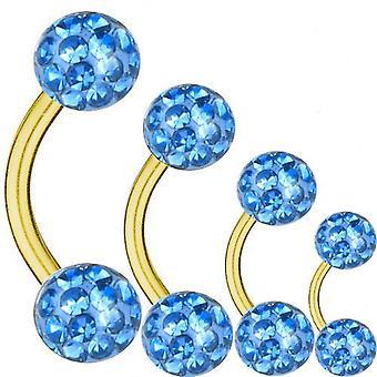 Geschwungene Langhantel vergoldet Titan 1,6 mm, Multi Kristall Kugel hellblau | 6-16
