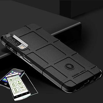 Voor Samsung Galaxy A9 A920F 2018 schild geval TPU silicone zwart + 0,26 mm 2.5 d H9 getemperd glas tas gevaldekking van mouw