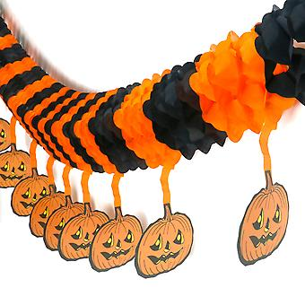TRIXES Spooky Scary Halloween Black & Orange Paper Decoration with Hanging Pumpkins