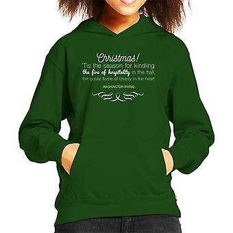 Christmas Hospitality Washington Irving Quote Kid's Hooded Sweatshirt