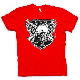 Womens T-shirt - Skull With Gas Mask & Crossed Guns Design