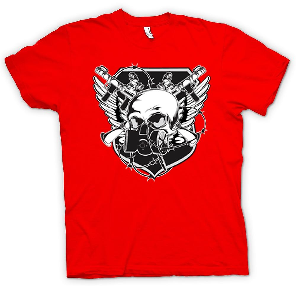 Mens T-shirt - Skull With Gas Mask & Crossed Guns Design