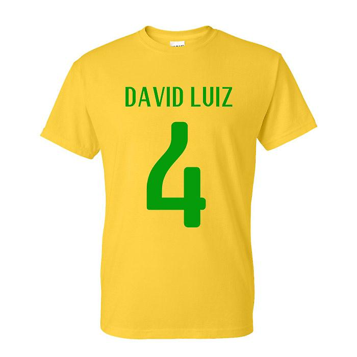 David Luiz Brasilien Held-T-Shirt (gelb)