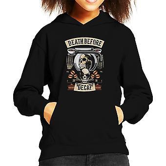 Death Before Decaf Kid's Hooded Sweatshirt