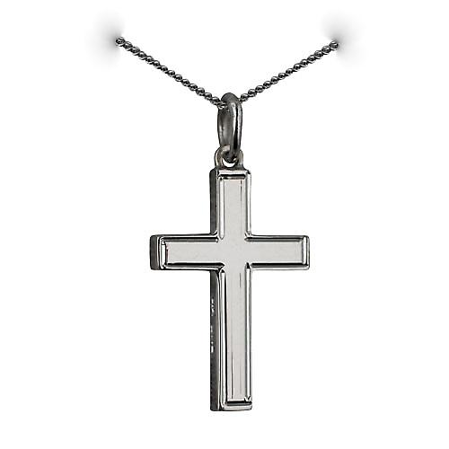 9ct White Gold 20x12mm engine turned line border solid block Cross with a curb Chain 16 inches Only Suitable for Children