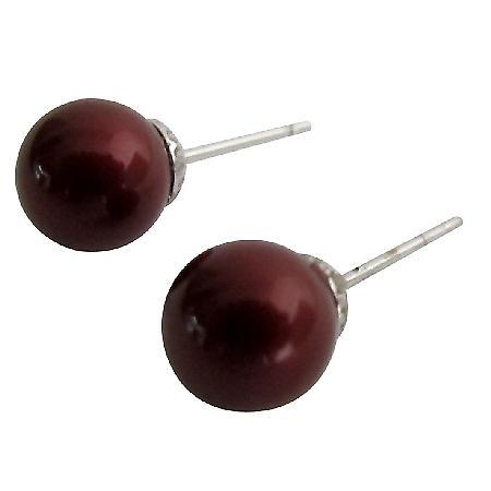 Mom Gift Wine Pearl Stud Earrings