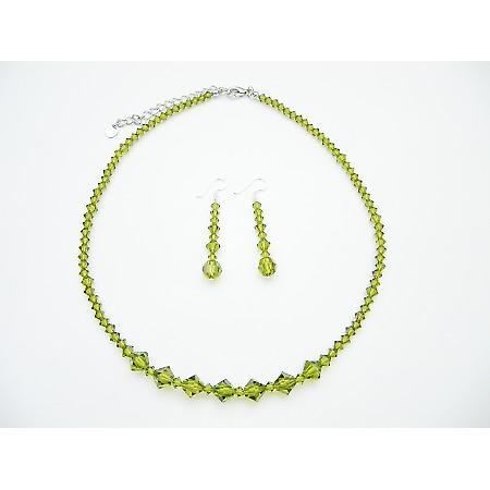 Swarovski Olivine Crystals Handmade Jewelry Set