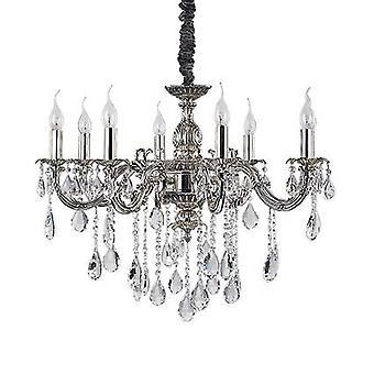 Idealne Lux - Impero srebrne wykończenie osiem Light Świecznik z kryształkami IDL014395