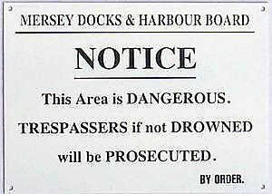 Mersey Docks & Harbour Board Trespassers enamelled steel wall sign (dp)