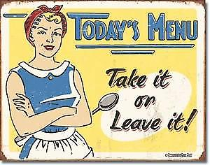 Today's Menu weathered funny metal sign