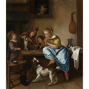 Children teaching a cat to dance,Jan Steen,50x43cm
