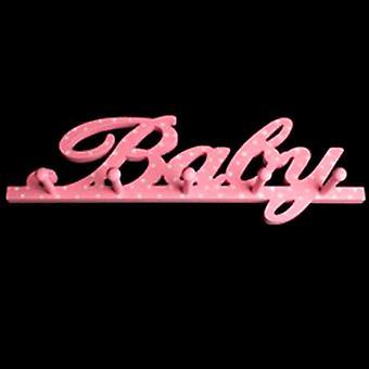 Baby - Wall Mounted Hanging 5 Peg Rack / Coat Hooks - Pink