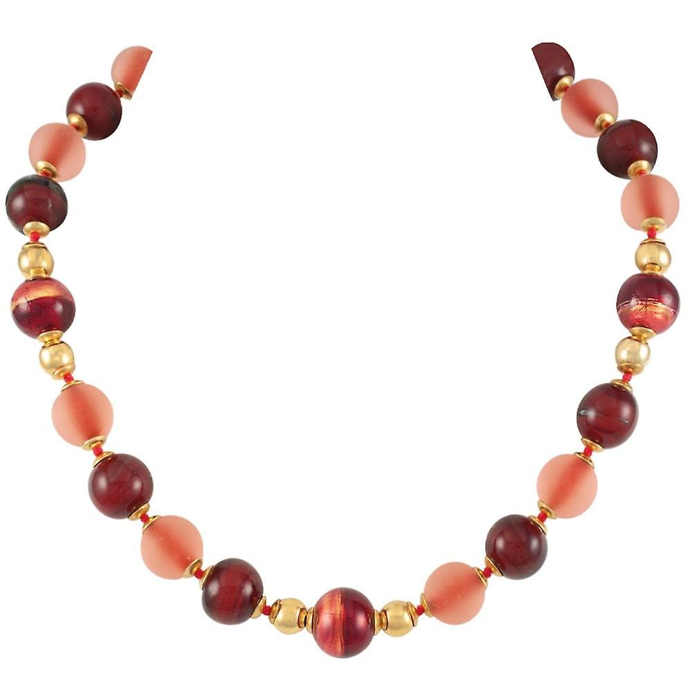Eternal Collection Satinato Cherry rouge Venetian Murano Glass Necklace