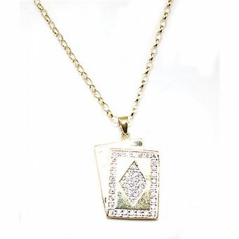 Toc Silver and Gold Plated Cz Set Gambling Dog Tag Pendant 20 Inch Chain
