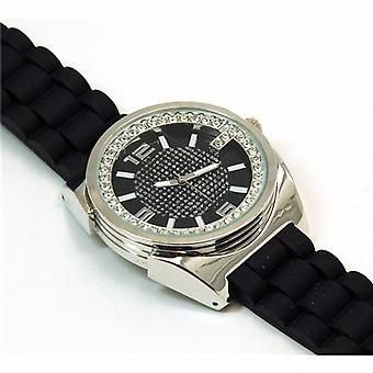 Henley Gents Black & Silver Crystal Sports Strap Watch