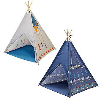 Charles Bentley Wigwam Wooden Tepee Tent - Indoor / Outdoor Play Lightweight - Box with Carry Handles in Blue / White
