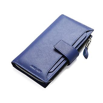Hautton Leather Pink Clutch Wallet With Pull Out Sleeve - Blue