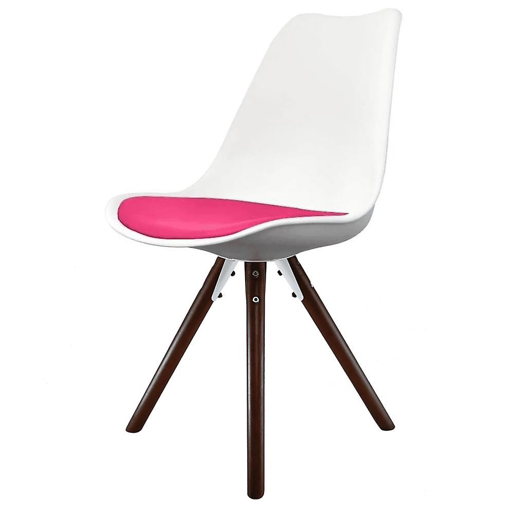 Fusion Living Eiffel Inspirouge blanc And Bright rose Dining Chair With Pyramid Dark bois Legs