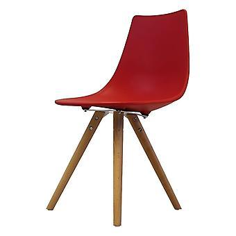 Chaise de salle à manger en plastique rouge iconique de fusion vivante avec des jambes en bois clair