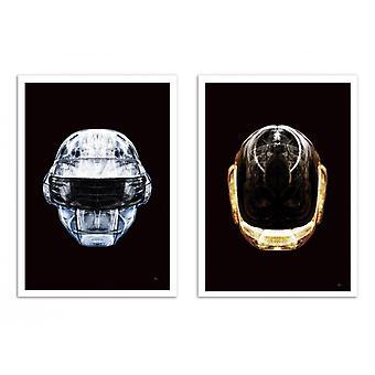 2 art-affischer 30 x 40 cm-Daft krom och guld-Rubiant