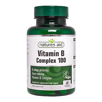 Natures Aid Mega Vitamin B Complex 100 Time Release, 60 tabs. Suitable for Vegans.