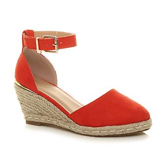 Ajvani womens mid wedge heel platform buckle up ankle strap espadrille sandals