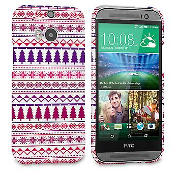 Caseflex HTC One M8 Christmas Tree Hard Case Pink Purple